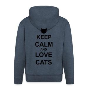 Keep Calm and Love Cats - Black - Men's Premium Hooded Jacket