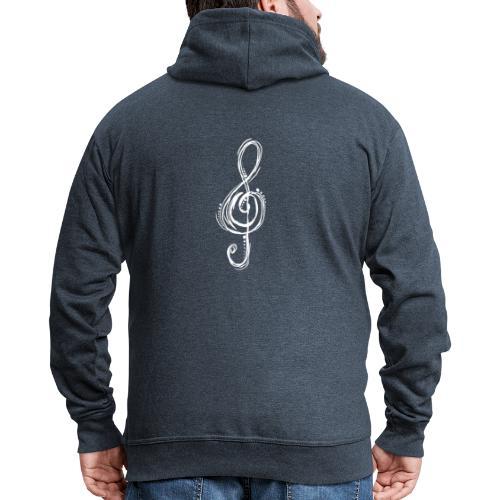 Violinschlüssel weiß - Männer Premium Kapuzenjacke