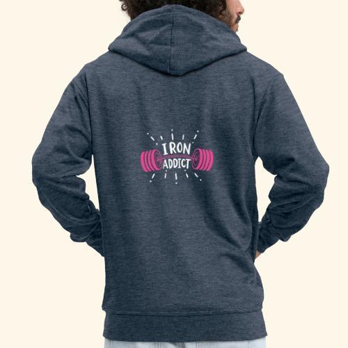 VSK Lustiges GYM Shirt Iron Addict - Männer Premium Kapuzenjacke