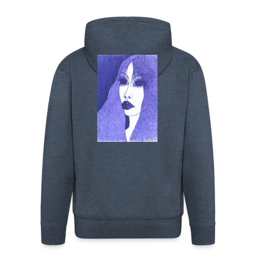 Blue - Rozpinana bluza męska z kapturem Premium