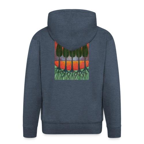 Czerwony Zachód Słońca - Rozpinana bluza męska z kapturem Premium