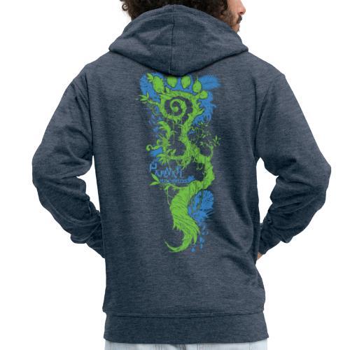 Parvati FootMoss logo in blue & green - Men's Premium Hooded Jacket