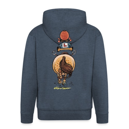 Thelwell Funny Riding Beginner Illustration - Men's Premium Hooded Jacket