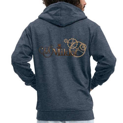 miklof logo gold wood gradient 3000px - Men's Premium Hooded Jacket