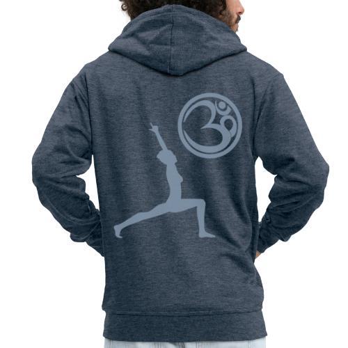 Der Held Yoga Asana Warrior mit OM Symbol Cool - Männer Premium Kapuzenjacke