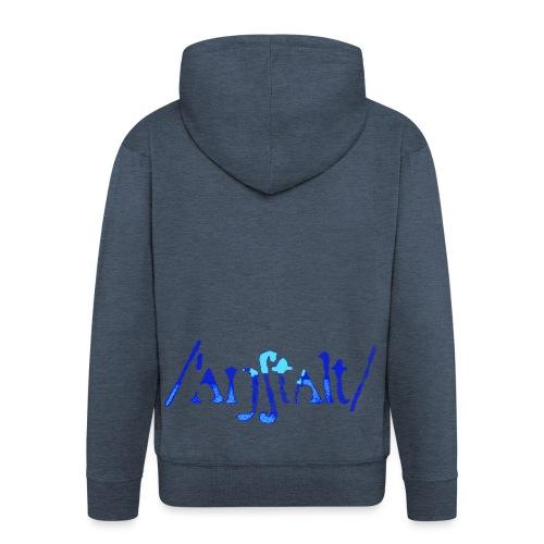 /'angstalt/ logo gerastert (blau/transparent) - Männer Premium Kapuzenjacke