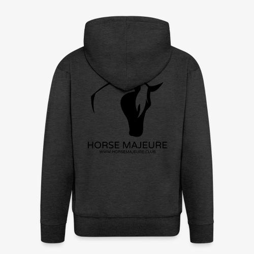 Horse Majeure Logo / Musta - Miesten premium vetoketjullinen huppari
