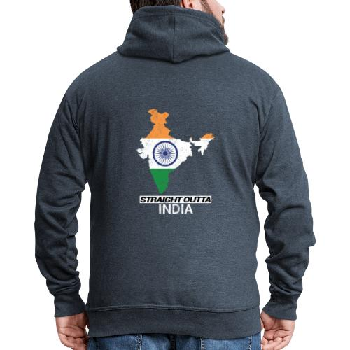 Straight Outta India (Bharat) country map flag - Men's Premium Hooded Jacket