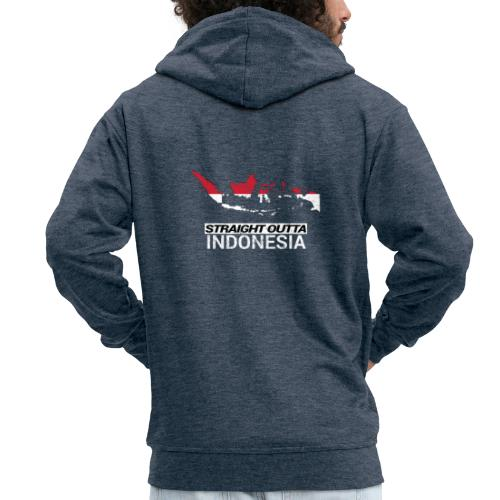 Straight Outta Indonesia country map & flag - Men's Premium Hooded Jacket