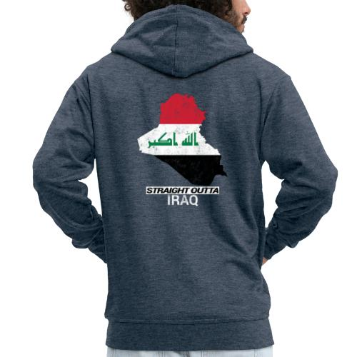 Straight Outta Iraq country map & flag - Men's Premium Hooded Jacket