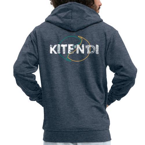Front Kitesurf Passion White - Felpa con zip Premium da uomo