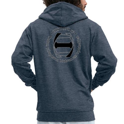 Histoni logo musta stroke - Miesten premium vetoketjullinen huppari