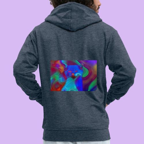 Gattino con effetti neon surreali - Felpa con zip Premium da uomo