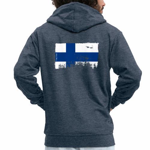 Suomen lippu, Finnish flag T-shirts 151 Products - Miesten premium vetoketjullinen huppari