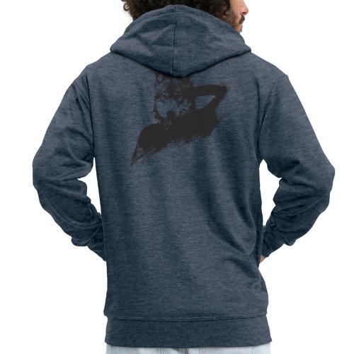 illustration zoom loup noir - Veste à capuche Premium Homme