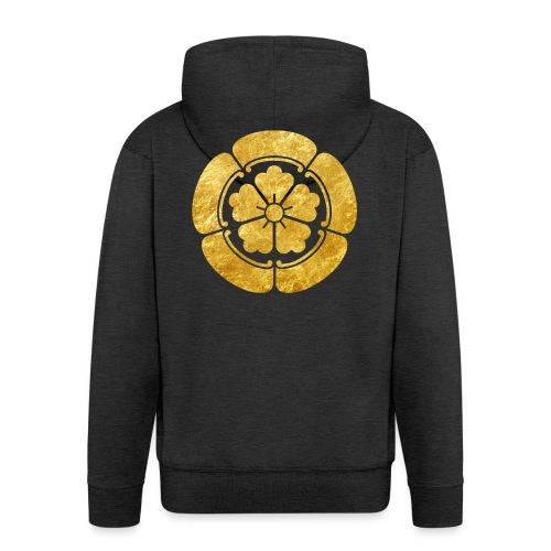 Oda Mon Japanese samurai clan faux gold on black - Men's Premium Hooded Jacket