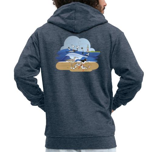 See... birds on the shore - Men's Premium Hooded Jacket