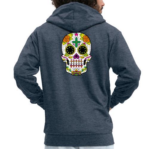 skull4 - Felpa con zip Premium da uomo