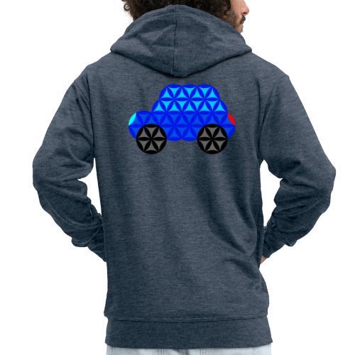 The Car Of Life - M01, Sacred Shapes, Blue/R01. - Men's Premium Hooded Jacket
