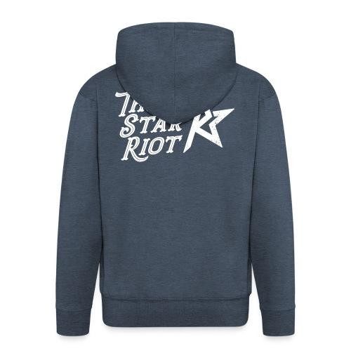 Three Star Riot logo vaalea - Miesten premium vetoketjullinen huppari