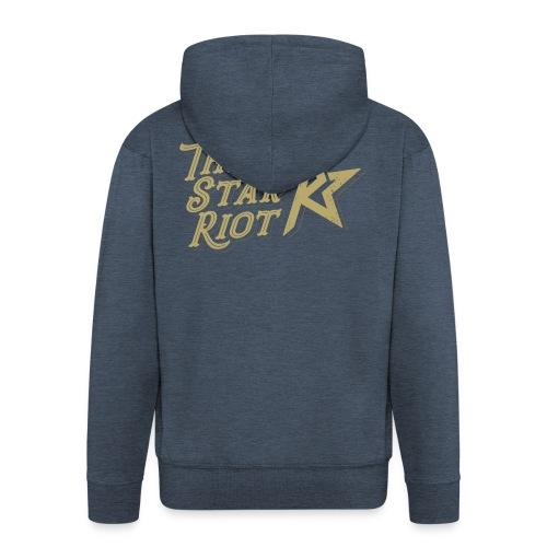 Three Star Riot logo väri - Miesten premium vetoketjullinen huppari