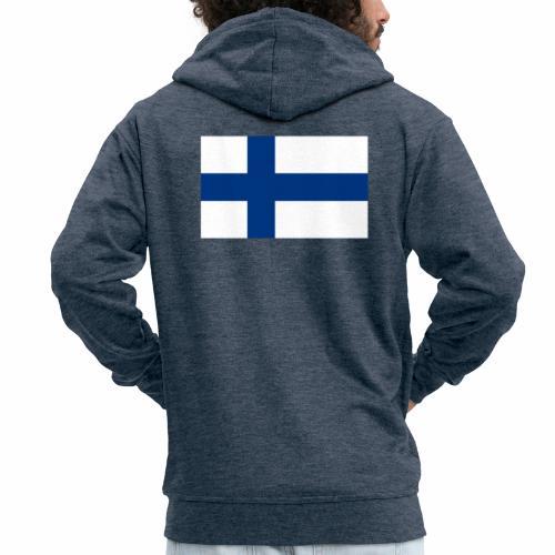 Suomenlippu - tuoteperhe - Miesten premium vetoketjullinen huppari