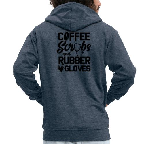 Coffee scrubs and rubber gloves - Men's Premium Hooded Jacket