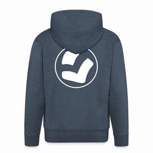 LaidPark White Logo - Miesten premium vetoketjullinen huppari