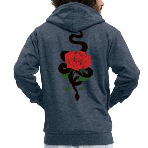 Serpiente y rosa - Chaqueta con capucha premium hombre