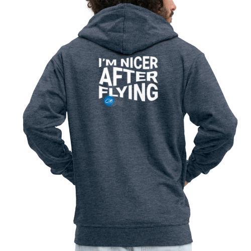 I'm nicer after flying (White) - Men's Premium Hooded Jacket