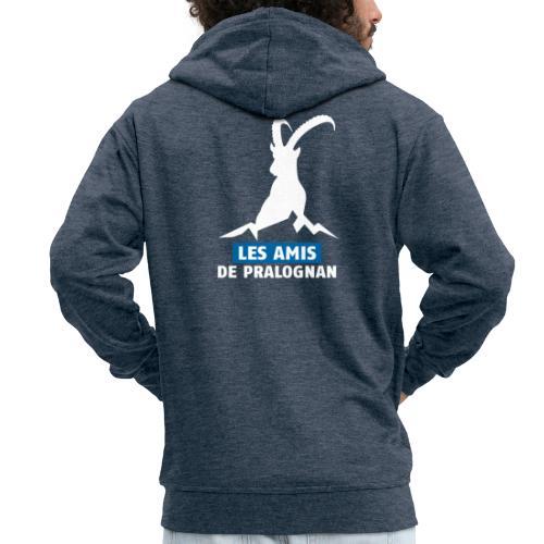 Logo Les Amis de Pralo grand blanc - Veste à capuche Premium Homme