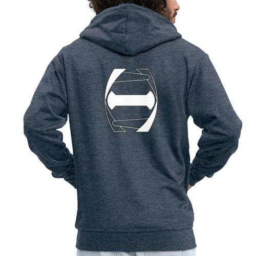 Logo white stroke - Miesten premium vetoketjullinen huppari