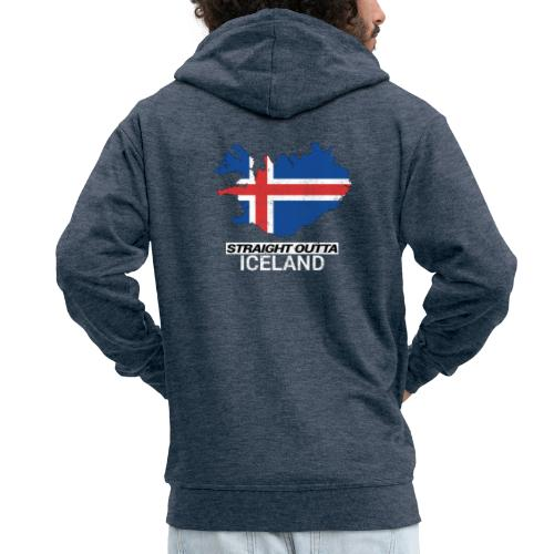 Straight Outta Iceland country map - Men's Premium Hooded Jacket