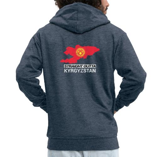 Straight Outta Kyrgyzstan country map - Men's Premium Hooded Jacket