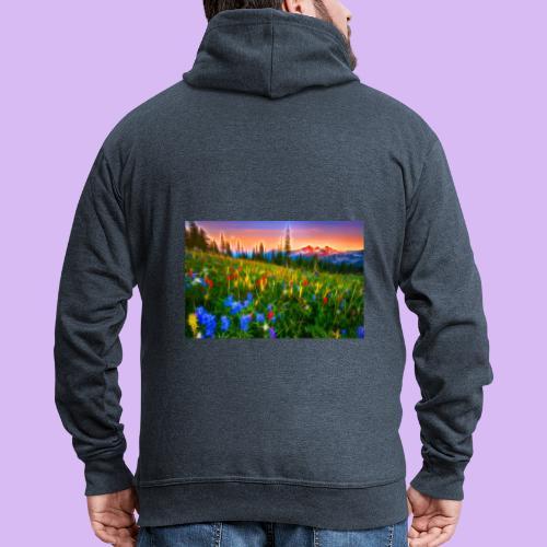 Bagliori in montagna - Felpa con zip Premium da uomo