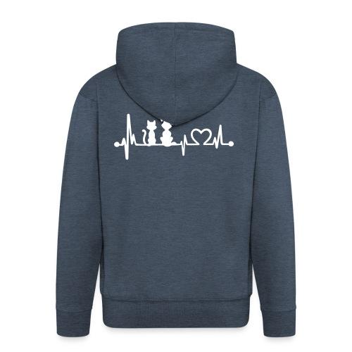 Vorschau: dog cat heartbeat - Männer Premium Kapuzenjacke