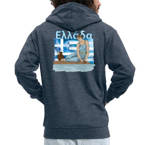 Frau am Strand in Griechenland mit Flagge - Ellada - Männer Premium Kapuzenjacke
