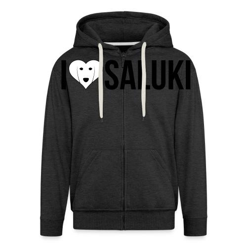 I Love Saluki - Felpa con zip Premium da uomo