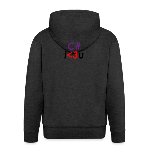 C# is love - Felpa con zip Premium da uomo