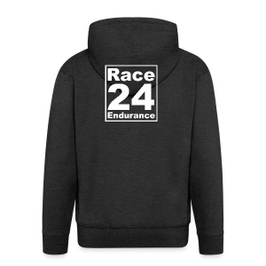 Race24 Logo - White - Men's Premium Hooded Jacket