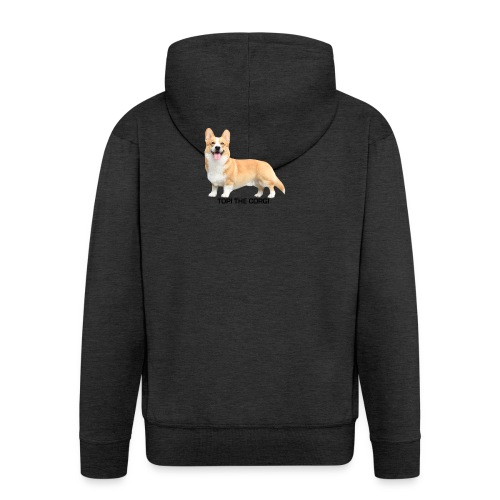 Topi the Corgi - Black text - Men's Premium Hooded Jacket