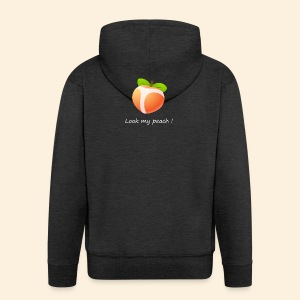 Look my peach in white - Men's Premium Hooded Jacket