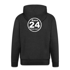 Race24 round logo white - Men's Premium Hooded Jacket