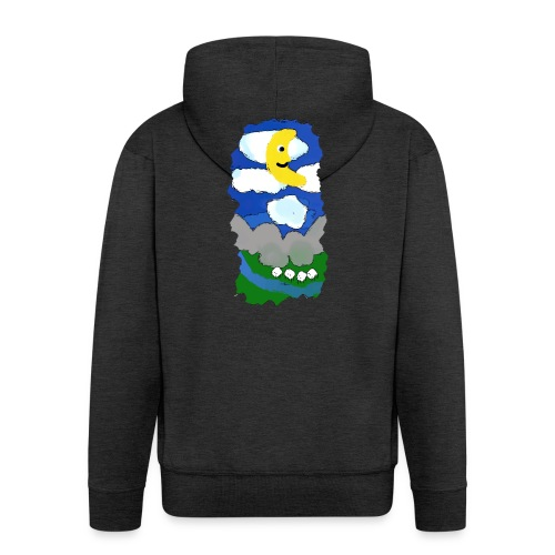 smiling moon and funny sheep - Men's Premium Hooded Jacket