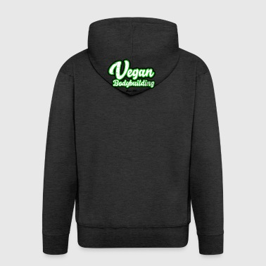 Vegan Bodybuilding design on front - Men's Premium Hooded Jacket