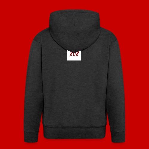 red on white 808 box logo - Men's Premium Hooded Jacket