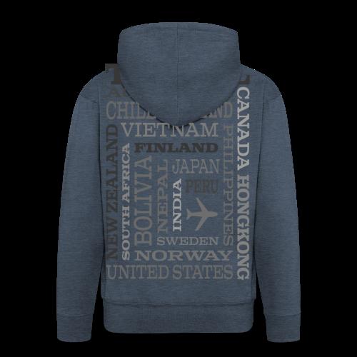 Travel Places Gray design - Miesten premium vetoketjullinen huppari