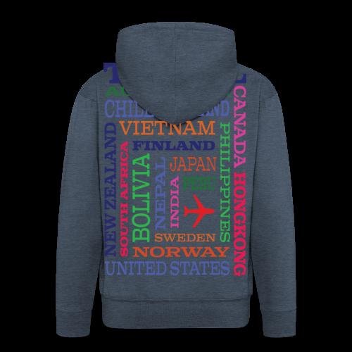 Travel Places design - Miesten premium vetoketjullinen huppari