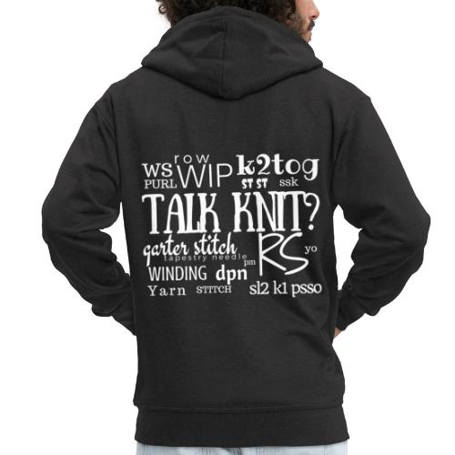 Talk Knit ?, white - Men's Premium Hooded Jacket