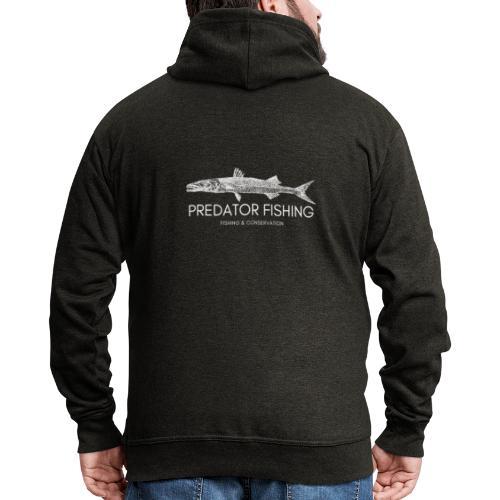 Predator Fishing White - Felpa con zip Premium da uomo